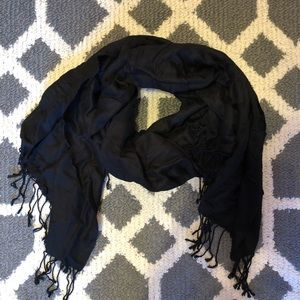 Black Scarf With Fringe